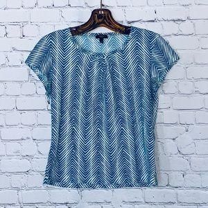 {Talbots} Blue and White Top Sz S